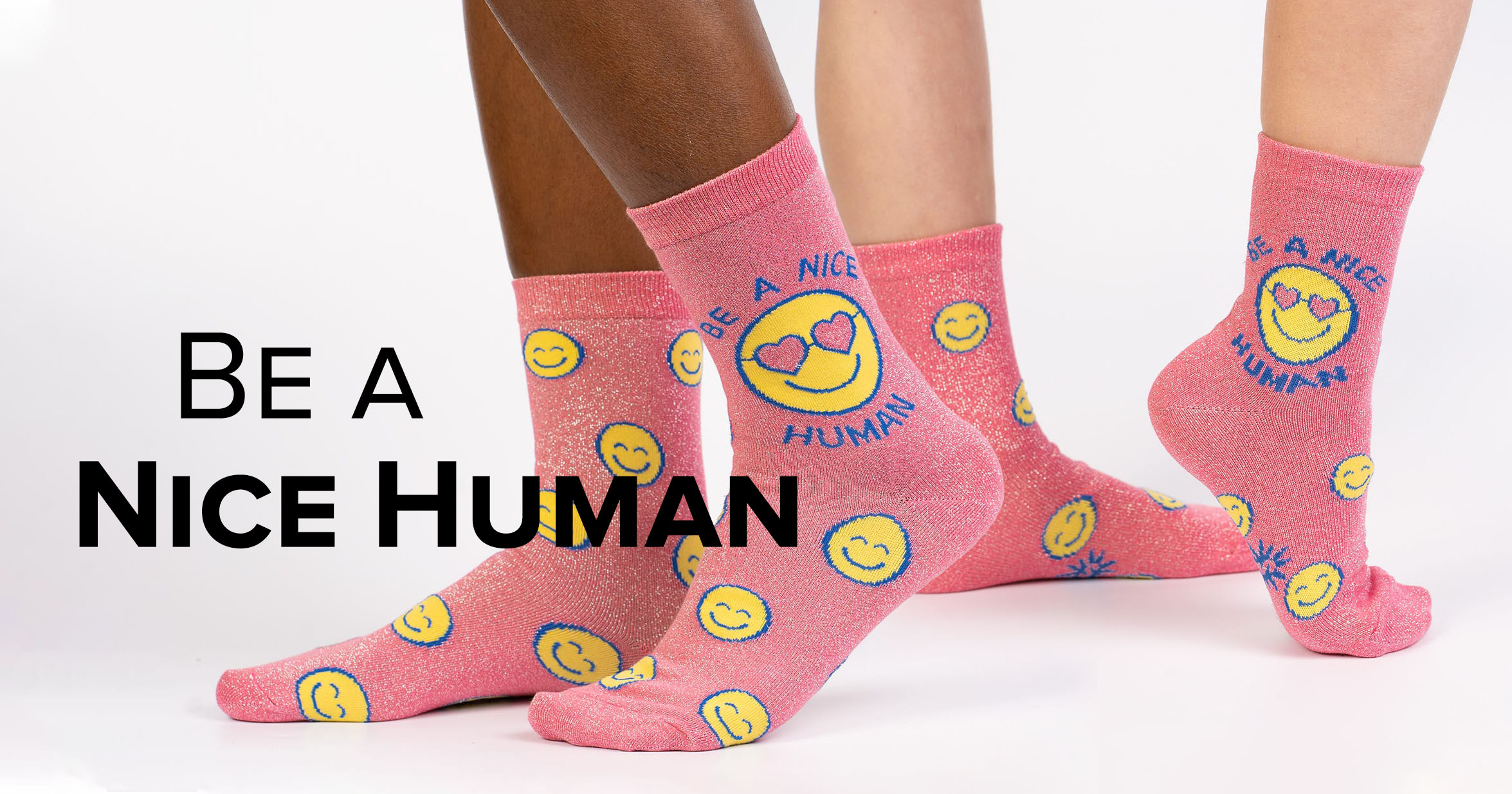 "Adult and junior crew socks in the ""Be a Nice Human"" shimmer style"