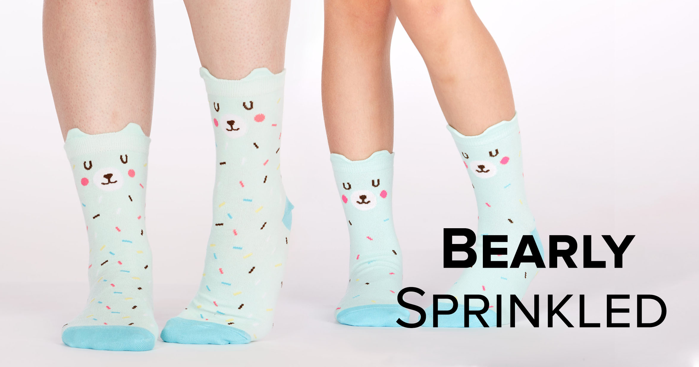 "Adult and junior crew socks in the ""Bearly Sprinkled"" style"