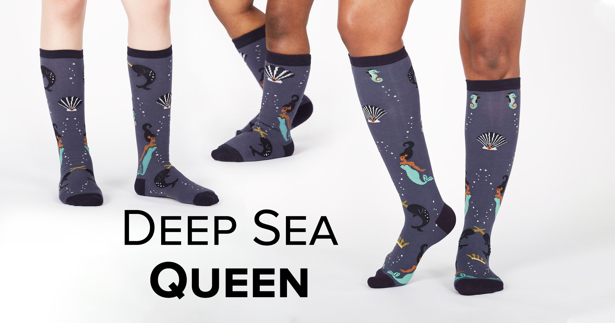 "Adult, Junior, and Toddler Knee High socks in the ""Deep Sea Queen"" style"