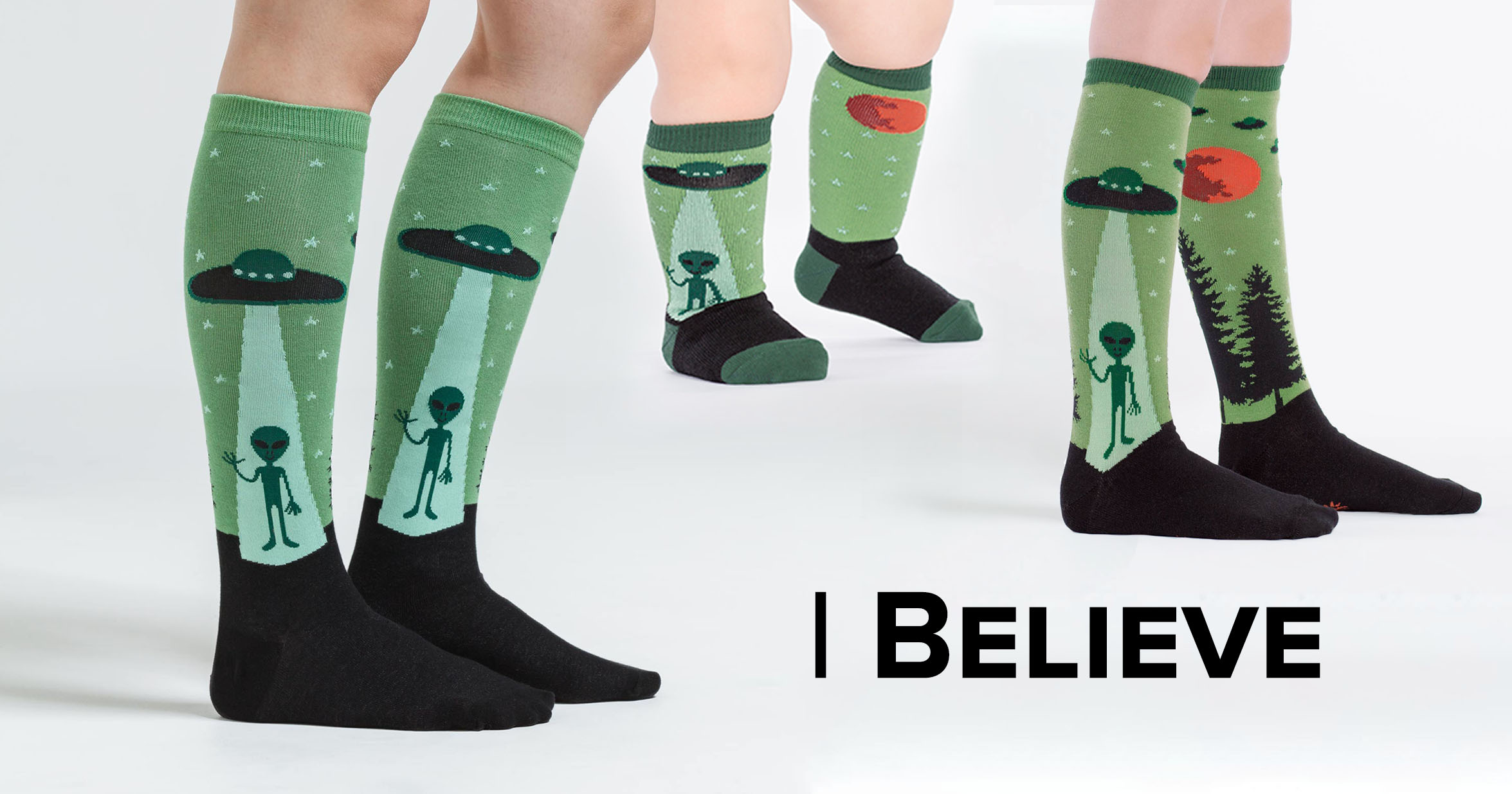 "Adult, junior, and toddler crew socks in the ""I Believe"" style"