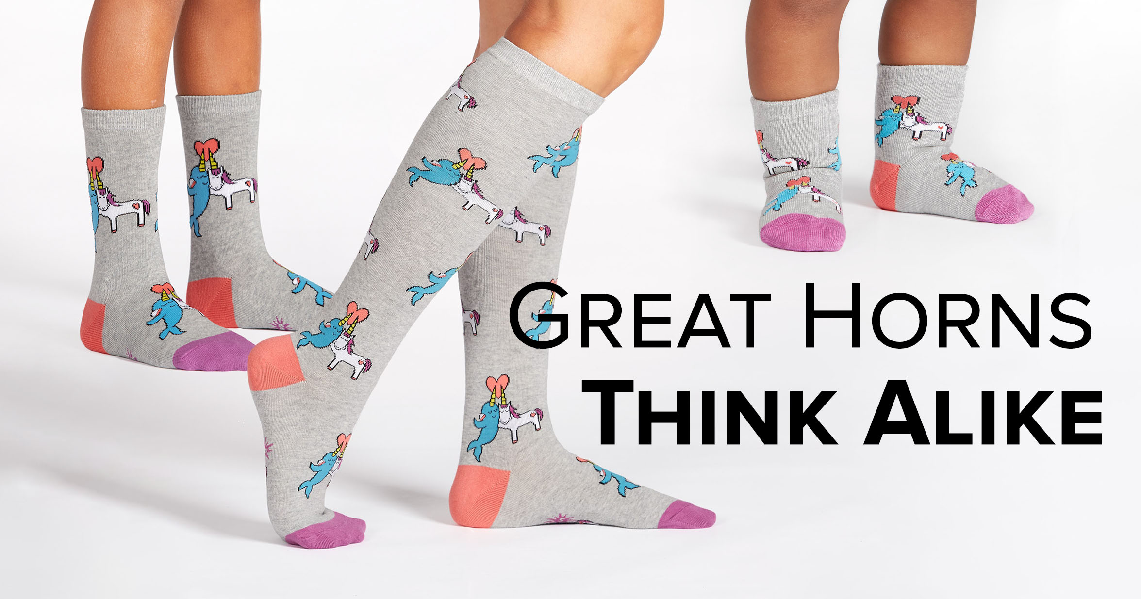 "Adult knee high socks and toddler and youth crew socks in the ""Great Horns Think Alike"" style"