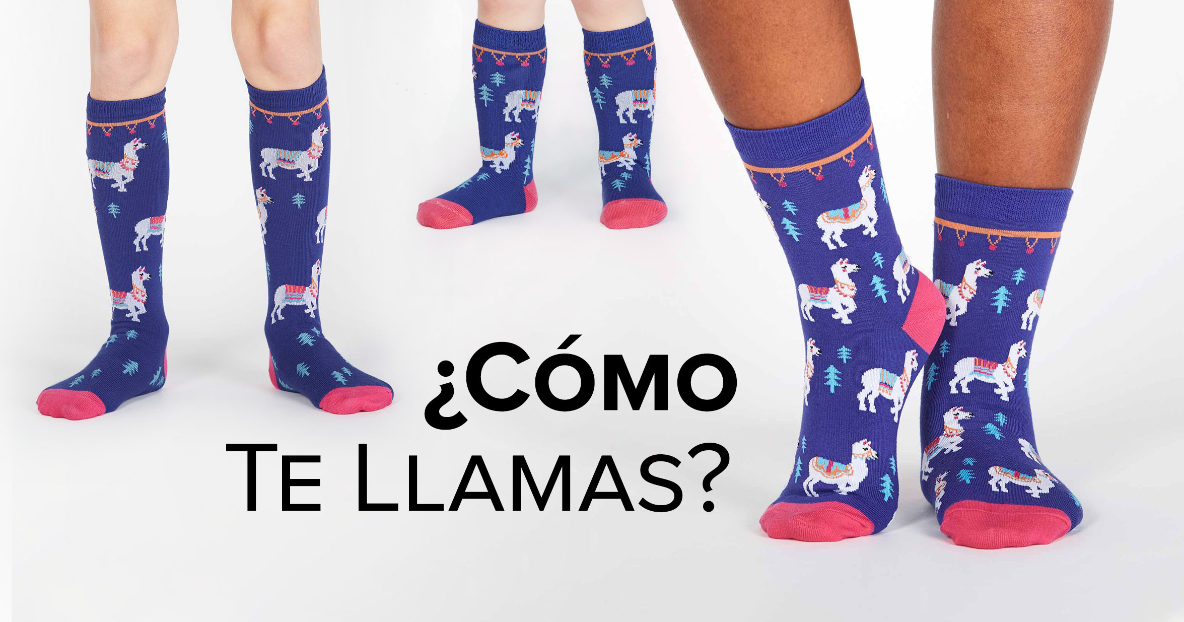 "Adult, youth, and toddler crew socks in the ""¿Cómo Te Llamas?"" style"