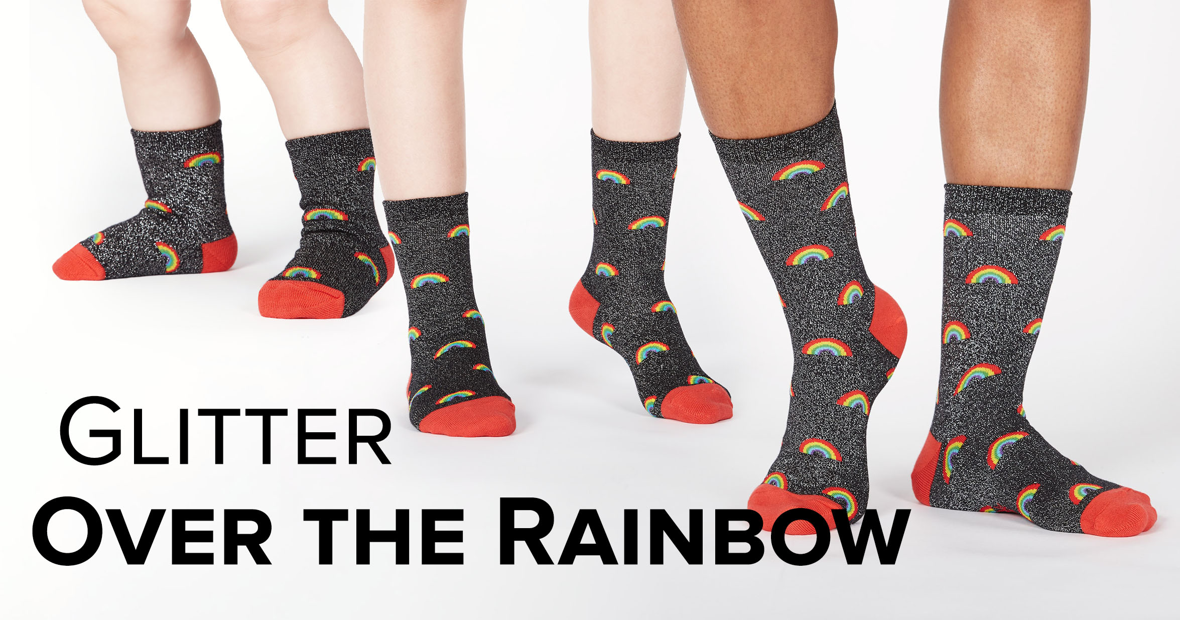 "Adult, Junior, and Toddler Knee High socks in the ""Glitter Over the Rainbow"" shimmer style"