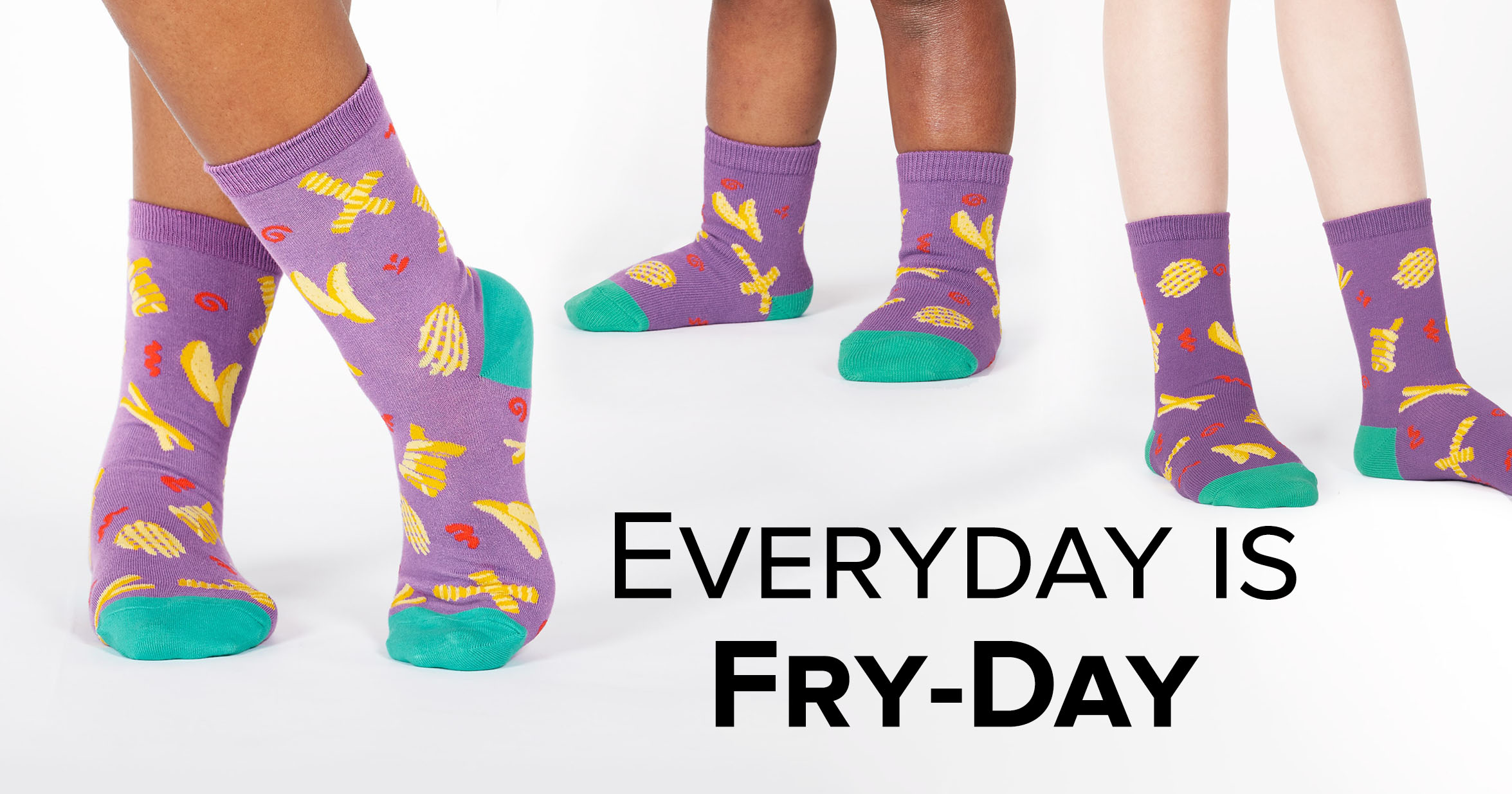 "Adult, junior, and toddler crew socks in the ""Everyday is Fry-Day"" style"